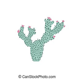 Cactus in doodle style. Cute prickly green cactus. Cacti ...