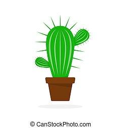Cactus in flower pot. Vector illustration.