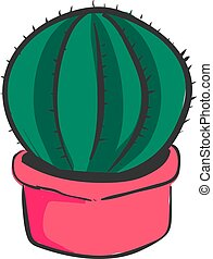Cactus in pink pot, illustration, vector on white background.