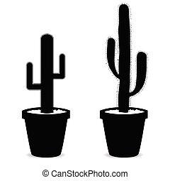 cactus in pot black vector