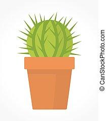 cactus, in, vaso, vettore