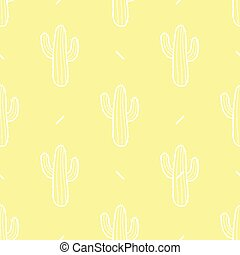 Cactus in white outline on pastel yellow background. Seamless pattern vector illustration.