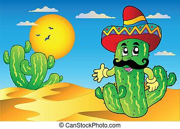 cactus, mexicain, scène désertique