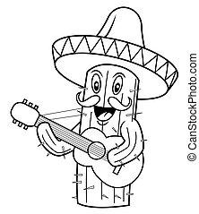 cactus mexico cartoon vector