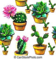 cactus, model, van, succulent, vrijstaand, op, een, witte