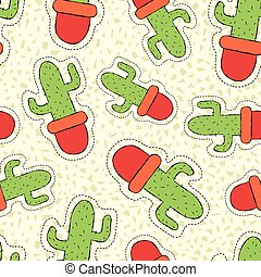 Cactus plant hand drawn patch on seamless pattern - Hand...