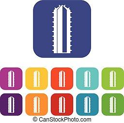 Cactus plant icons set flat