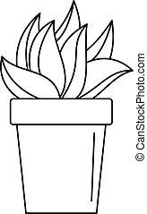 Cactus plant pot icon, outline style