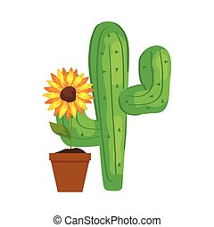 cactus plant with sunflower on white background