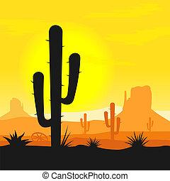 cactus, planten, in, woestijn