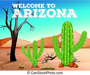 Cactus plants in Arizona state illustration