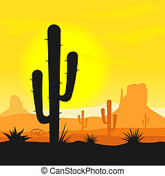 Sunset in mexican desert with cactus plants silhouette