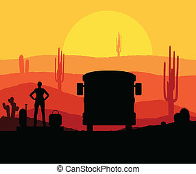 Cactus plants in desert sunset vector background with woman...