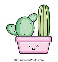 cactus plants in pots kawaii characters