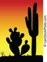 cactus prickly art black silhouette in desert illustration