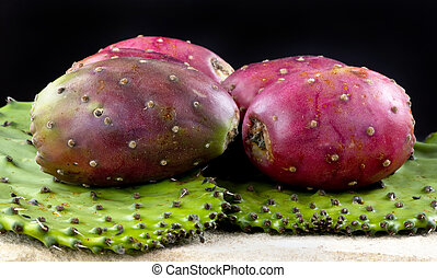 Cactus Prickly Pears. - Fresh cactus prickly pears on cactus...