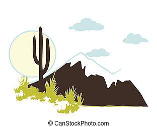 A southwest desert landscape of Saguaro cactus mountains and sky