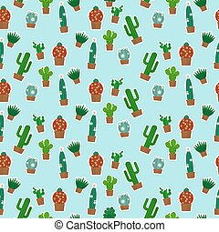 Cactus seamless pattern on blue background