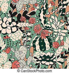 Cactus seamless pattern