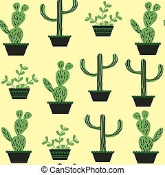 Cactus seamless pattern, vector