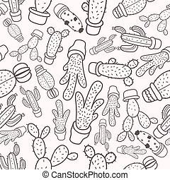 Cactus Seamless pattern with cactus on background. Hand drawn