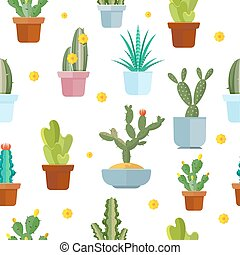 Cactus seamless vector pattern