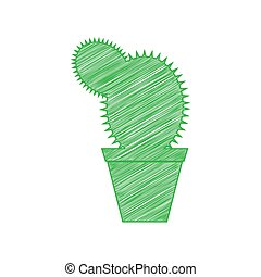 Cactus sign illustration. Green scribble Icon with solid ...
