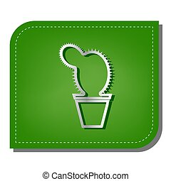 Cactus sign illustration. Silver gradient line icon with ...