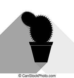 Cactus sign illustration. Vector. Black icon with two flat gray shadows on white background.