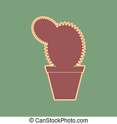 Cactus sign illustration. Vector. Cordovan icon and mellow ...