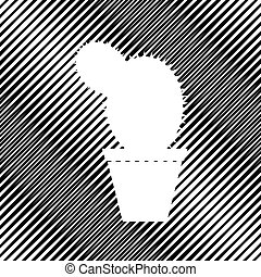 Cactus sign illustration. Vector. Icon. Hole in moire ...