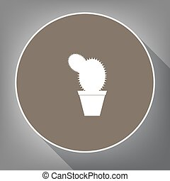 Cactus sign illustration. Vector. White icon on brown circle...