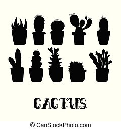 Cactus silhouettes in Flower pots.