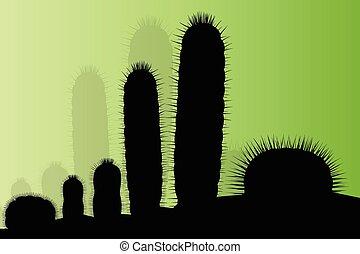Cactus silhouettes landscape desert vector background concept