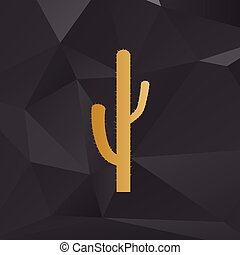 Cactus simple sign. Golden style on background with polygons.