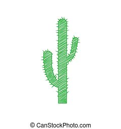 Cactus simple sign. Green scribble Icon with solid contour ...