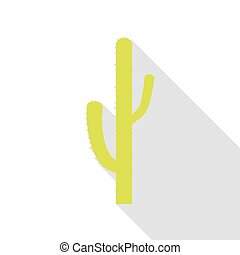 Cactus simple sign. Pear icon with flat style shadow path.