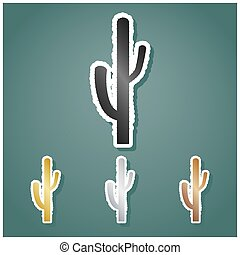 Cactus simple sign. Set of metallic Icons with gray, gold, ...