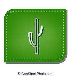 Cactus simple sign. Silver gradient line icon with dark ...
