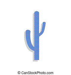 Cactus simple sign. Vector. Neon blue icon with cyclamen ...