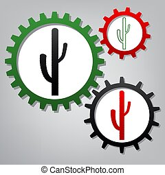Cactus simple sign. Vector. Three connected gears with icons...