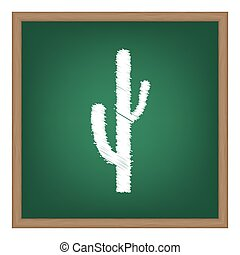 Cactus simple sign. White chalk effect on green school board...