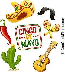 Cactus, sombrero, guitar, moustache, pepper, maracas. Set ...