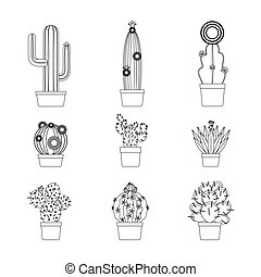 Cactus thin line icon set