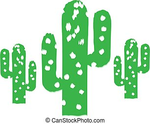 Cactus Trees - Abstract Illustration of three cactus trees