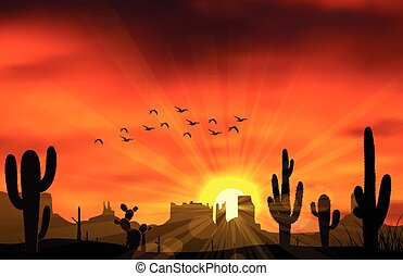 Cactus trees - Illustration of cactus tree when the sunset