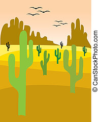 cactus valley - illustration of a desert landscape with...