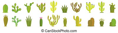 Cactus vector set. Collection of exotic plants. Decorative ...