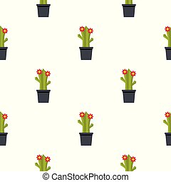 Cactus with flowers pattern seamless