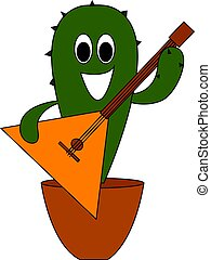 Cactus with guitar, illustration, vector on white background.